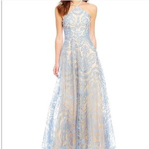 Xtraordinary light blue lace and cream prom dress